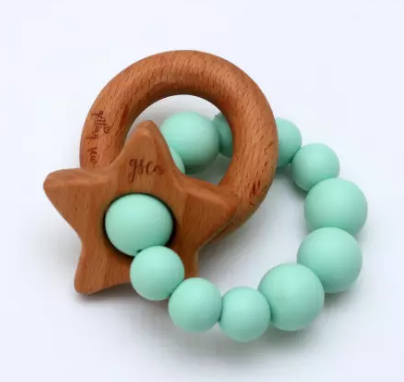 GSC Polished Wood Star Teether - Mint