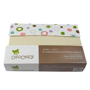 Osocozy Unbleached Cotton Prefolds - INFANT 6-Pack