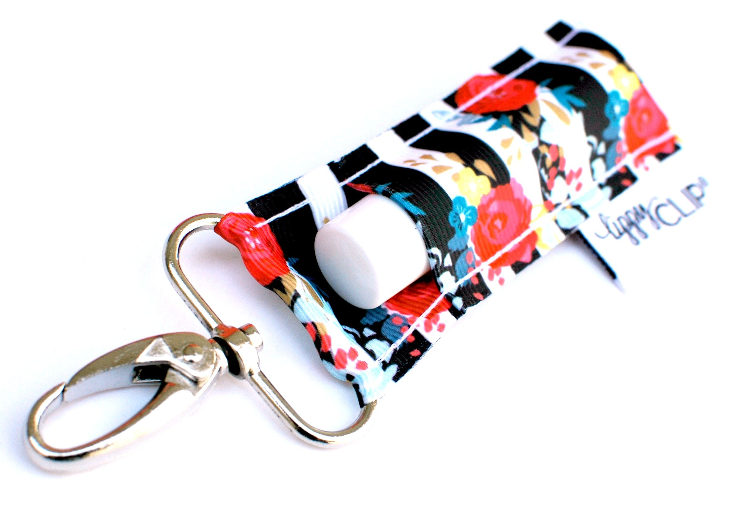 LippyClip - Black & White Stripe Floral